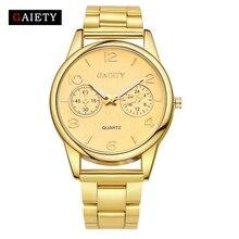 Alegría Marca Oro Plata Reloj de pulsera de Cuarzo de Moda de Lujo de La Vendimia de Las Mujeres Vestido de Las Señoras Reloj de Cuarzo Reloj de Acero Inoxidable Completa