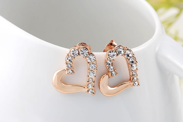 Roxi Fashion Simple Design Heart Shaped Inlaid Half Rose Gold Stud Earrings Women Whole In From Jewelry Accessories On