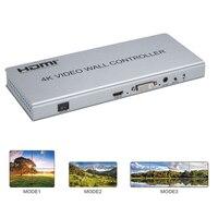 Новый 2X2 4 K видео стены Контроллер HDMI DVI ТВ процессор поддерживает три режима 2x2 1x2 1x4 дисплей с RS232