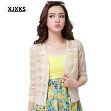 xjxks ultra-thin summer sunscreen shirt women cardigan sweater cape shrug cutout lace cardigans all-match
