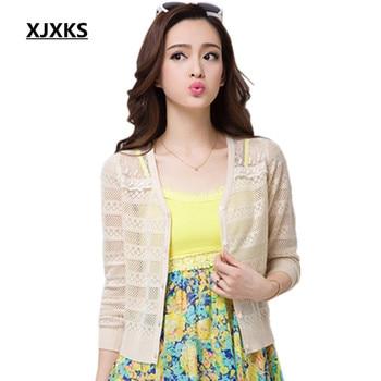 XJXKS Ultra-thin summer sunscreen shirt women cardigan sweater cape shrug cutout lace cardigans all-match outerwear 8 colors