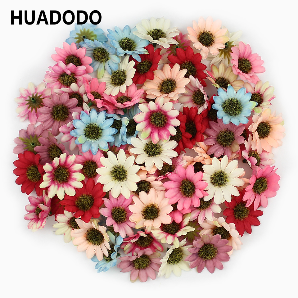 HUADODO 50 шт. Multi Цвет искусственные цветы ромашки головок шелковая Гербера искусственные цветы для домашнего Свадебные украшения записки DIY