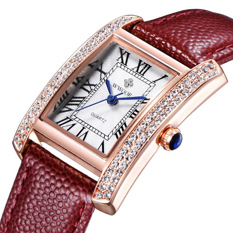 2016 Brand Luxury Women Watches Fashion Leather Strap Silver Gold Diamond Quartz Rectangle Wrist Watch for