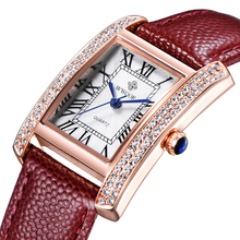 2016 Marque De Luxe Femmes Montres De Mode Bracelet En Cuir Argent Or Diamant Quartz Rectangle Montre-Bracelet pour Dames