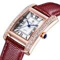 2016 Marca de Lujo de Las Mujeres Relojes Correa de Cuero de Moda Oro Plata Diamante Rectángulo de Cuarzo Reloj de pulsera para Damas