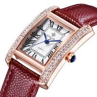 2015 Brand Luxury Women Watches Fashion Leather Strap Silver Gold Diamond Quartz Rectangle Wristwatch For Ladies
