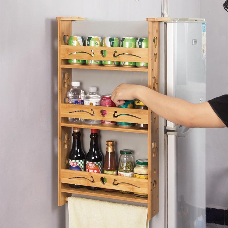 Bamboo Refrigerator Rack Kitchen Storage Rack Side Hanging Refrigerator Spice Rack Seasoning Finishing Shelf Wx11261053