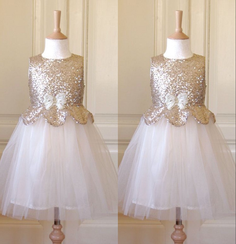 Shining   Flower     Girls     Dress   Scoop Ball Gown Floor Length Bow Accessory Sequins Organza   Flower     Girls     Dress   Little   Girl   Party Gowns