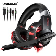 ONIKUMA K2A Gaming Headset Casque Stereo Over Ear Bass Headphone with Microphone LED Lights for PS4 Xbox One PC Smartphone