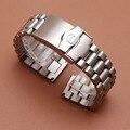 20mm 22mm de Alta calidad correa de reloj con hebilla de seguridad de plata correa de reloj de metal pulseras accesorios para marca de lujo recta final
