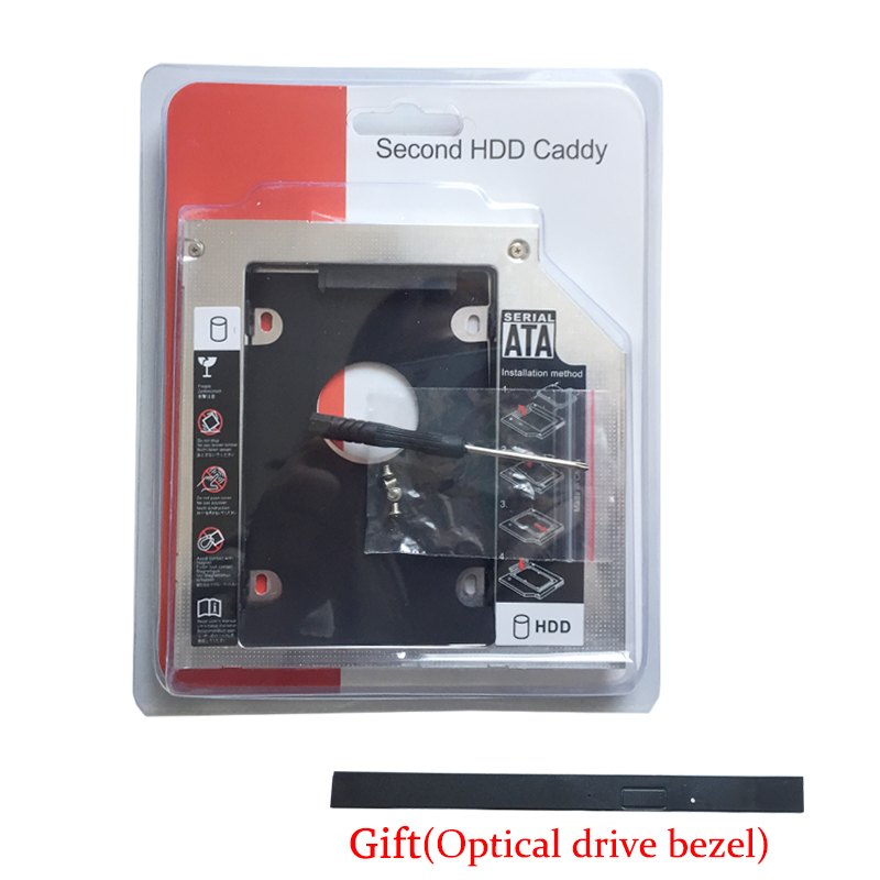 9.5MM 2nd HD HDD SSD Hard Drive Caddy For <font><b>Toshiba</b></font> Satellite <font><b>L50</b></font>-<font><b>A</b></font> <font><b>L50</b></font>-B <font><b>L50</b></font>-C L50D-B-1C1 Series(Gift Optical drive bezel) image