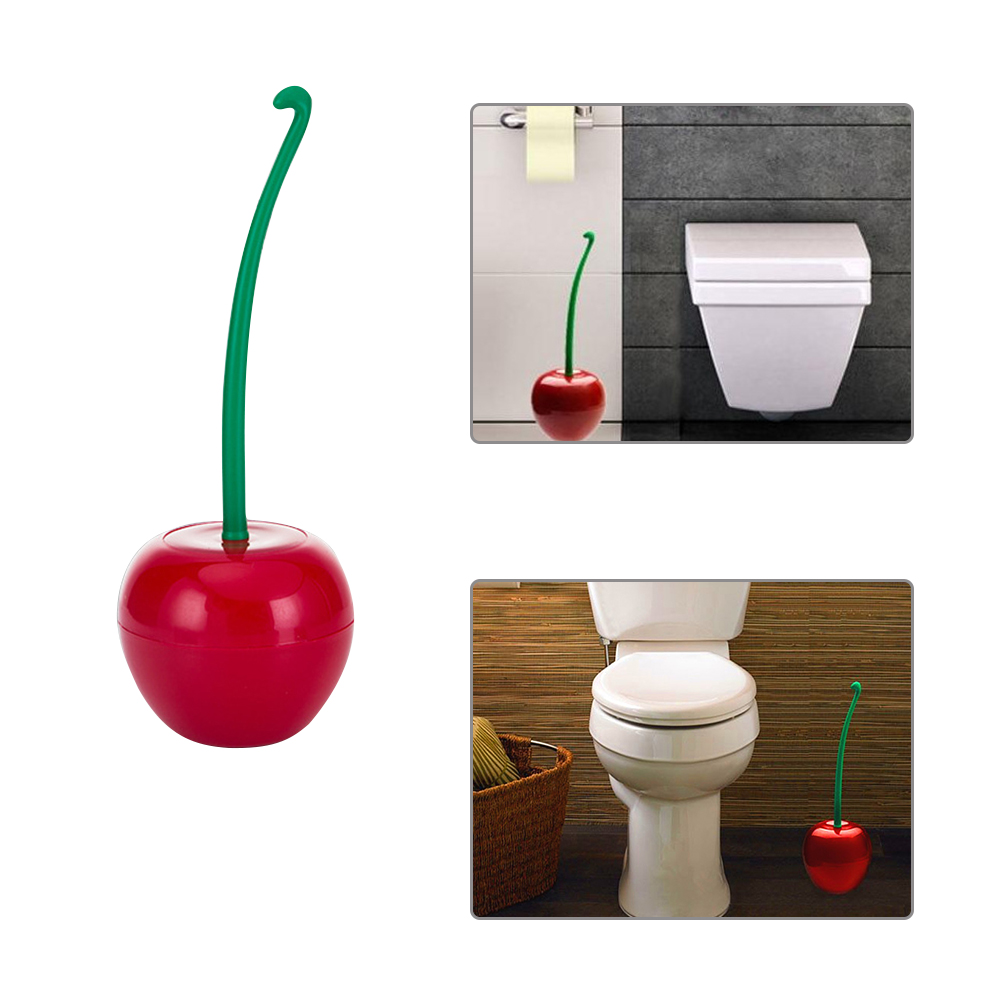 Toilet Brush Cherry Shaped Toilet Scrub Cleaning Tool With Holder Plastic Brush