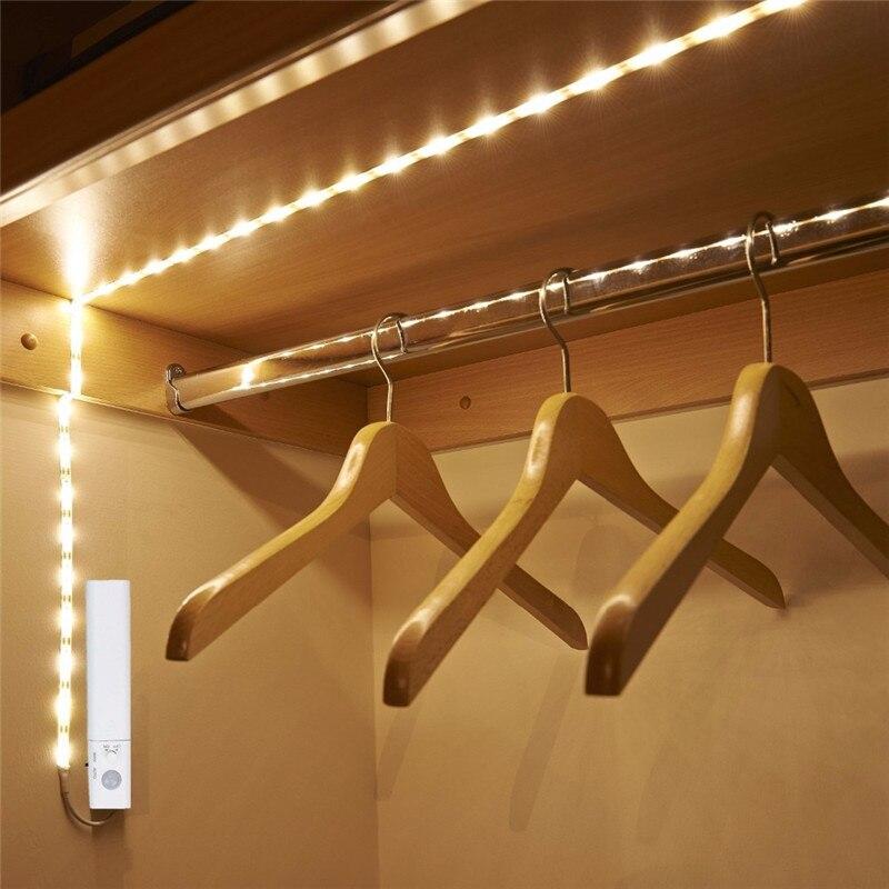 LED Motion Sensor Strip Light LED Dual Mode 1M 30 LEDs Waterproof White/Warm White Body Sensor Lamp for Bedroom Stairs Cabinet