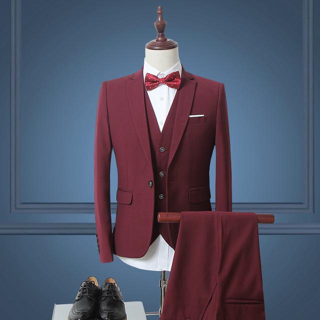 Homens Ternos Slim Fit Plus Size M-6XL Mens Ternos Com Calças Dos Homens de Negócios de Casamento Branco Formal Desgaste (jaqueta + Colete + Calça)