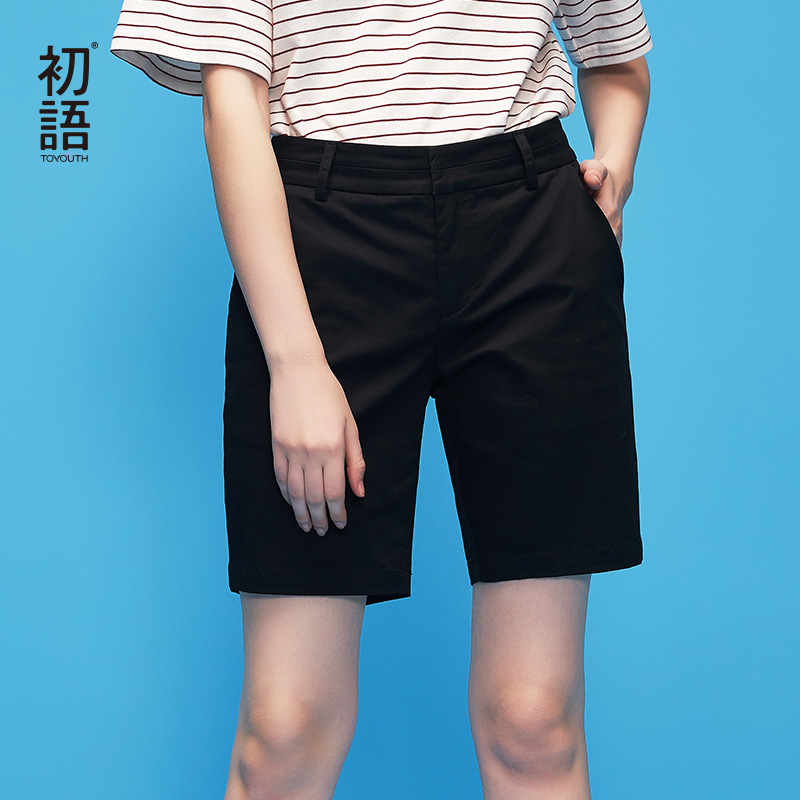 Toyouth 2019 New Summer Students Loose Straight Thin Short Trouser All-Match Casual Cotton Chic High Waist Shorts for Female Price $32.00