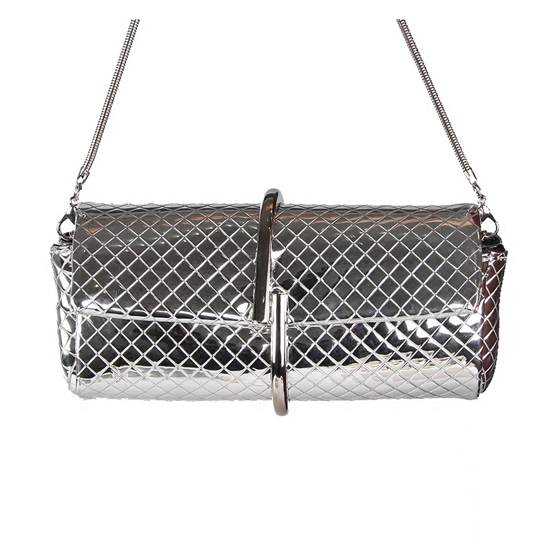 2018 Silver PU Leather Chain Small Shoulder Bags Metal Frame Bag Vintage Crossbody Bag For Girls Purse Clutch Bag Female 003