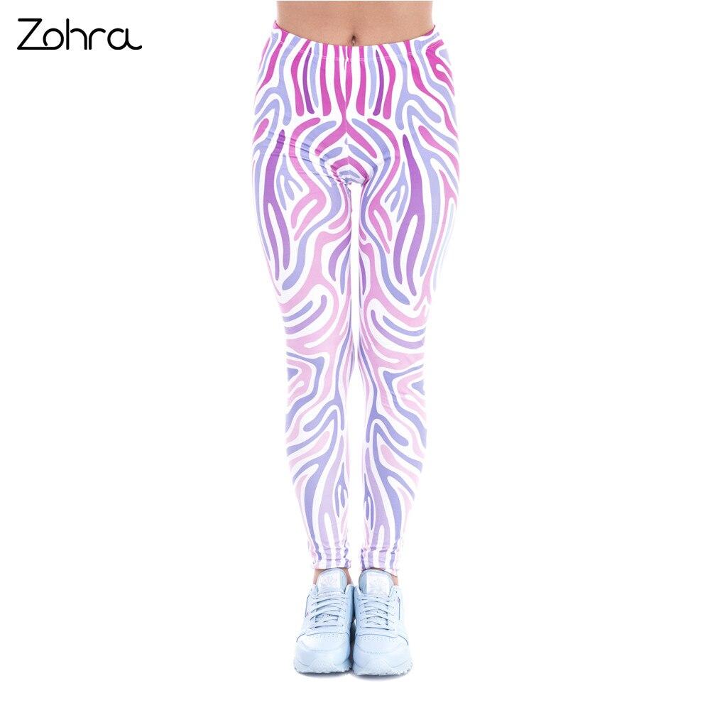 Zohra New Spring Women Legins Zebra Pink Printing Sexy Slim Legging Fashion High Waist Woman Leggings
