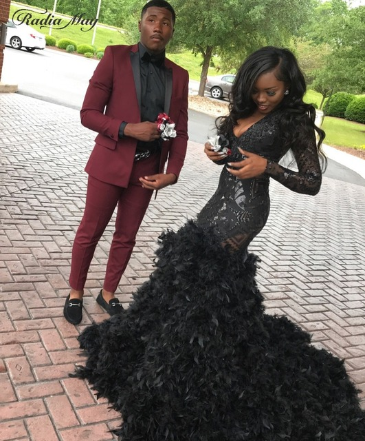 8b6b43d19563 Bling Black Mermaid Long Sleeve Feather African Prom Dresses with Train  Deep V-Neck Plus Size Graduation Party Dress Formal Gown