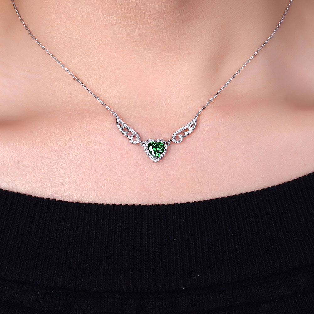 DOUBLE R Created Emerald Heart Pendants Necklaces 925 Sterling Silver Angel wings Necklace for Women Fashion