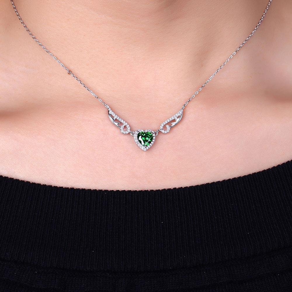 DOUBLE-R créé émeraude coeur pendentifs colliers 925 en argent Sterling ange ailes collier pour les femmes mode Fine bijoux