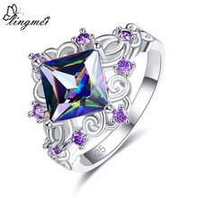 lingmei Wedding Princess Cut Rainbow & Blue White Purple Cubic Zircon Silver Jewelry 925 Ring Size 6 7 8 9 Engagement Gift