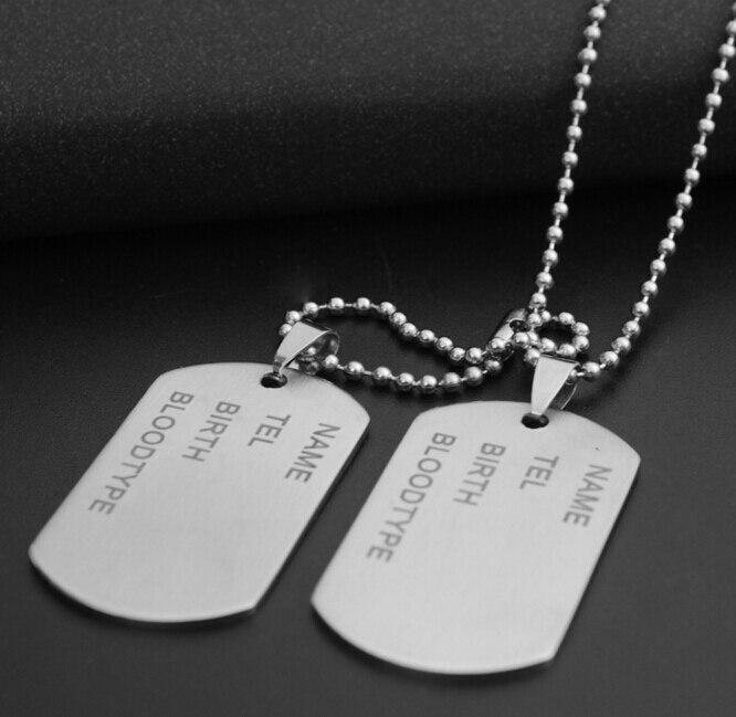 Etiquetas de perro militar con bola larga cadena collar de soldado del ejército ID Tag NUEVO