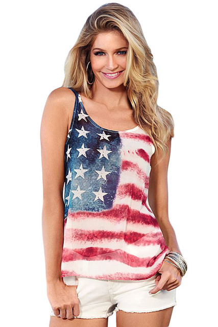 American Size new american top tank women Tank Top 2017 USA Flag Print Stripes Tank Top for Women Blouse Vest Shirt LC25854