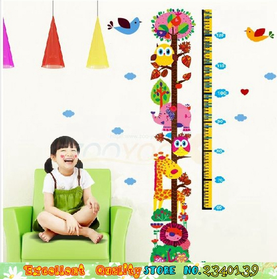 Cartoon animals zoo lion owl giraffe wall stickers for kids room height measure chart wall decal