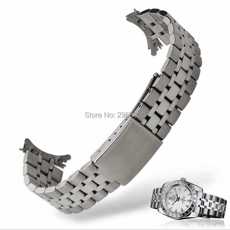 Серебряный ремешок из нержавеющей стали 13 17 19 20 мм однотонный ремешок браслет с откидной застежкой для принца/часы принцессы бесплатная доставка