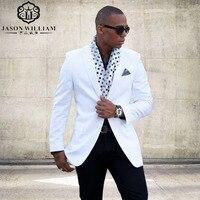 LN129 Trắng Phù Hợp Với Mùa Hè Ternos Masculinos Slim Fit Wedding Suits Chú Rể Tuxedo 2 Pieces Mens Suits Bãi Biển Rể Suit