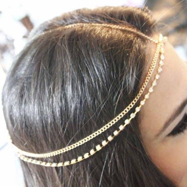 Cổ điển tinh thể chuỗi Đa tua drop nữ với phụ kiện đầu đội mũ bảo hiểm trán tóc đồ trang sức chuỗi