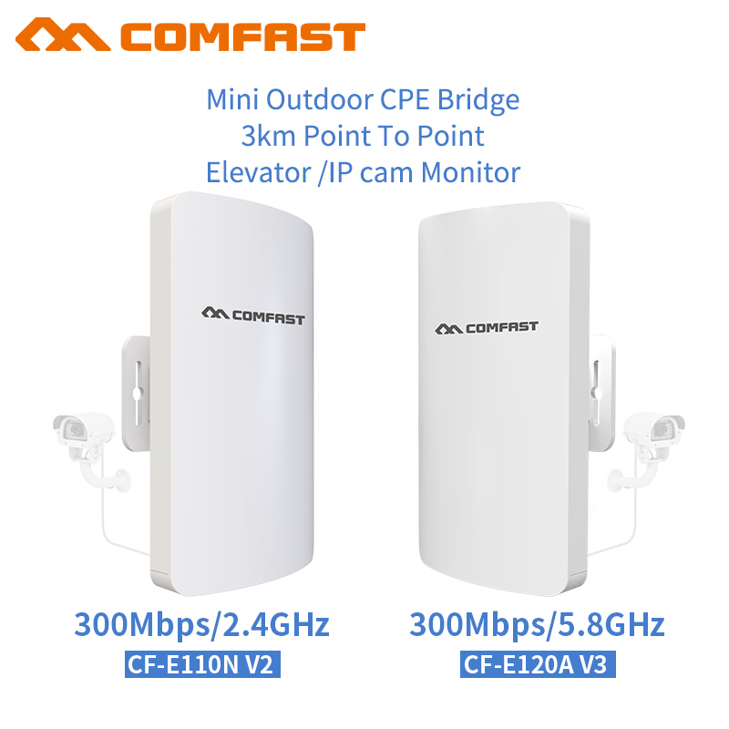 3KM 2.4/5.8 Ghz Outdoor CPE Router Point-to-Point Wireless CPE Bridge 300Mbps Router Wifi Repeater WDS Wireless AP For IP Camera