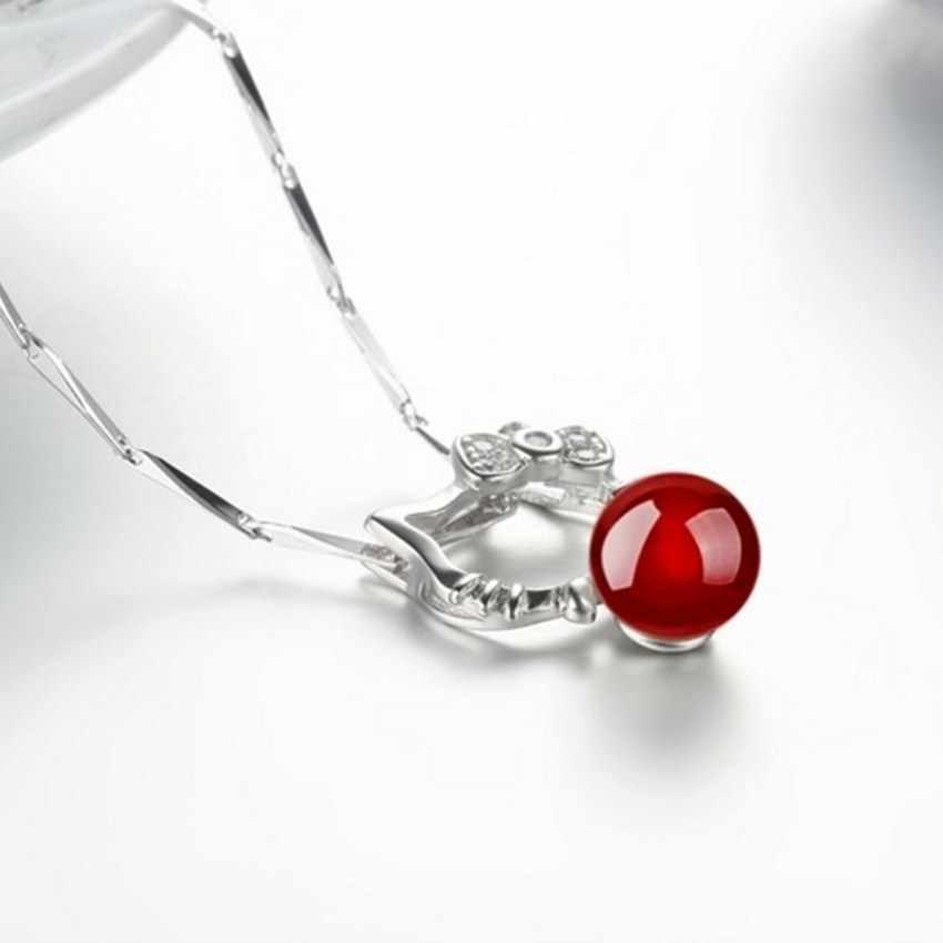 Red Olá Kitty Pingente de cor Prata Colar de pingente de simples moda feminina fabricantes de jóias por atacado