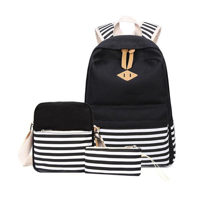25ef13cdb511 3 pcs black and white stripe vintage canvas backpack girl schoolbag kids  backpack school bags for