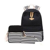 3 pcs black and white stripe vintage canvas backpack girl schoolbag kids backpack school bags for girls shoulder bag pencil case
