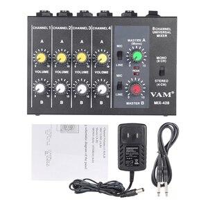 Image 5 - Ammoon AM 228 קומפקטי ערבוב קונסולת נמוך רעש 8 ערוצים מתכת מונו סטריאו אודיו קול מיקסר עם כוח מתאם כבל