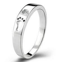Fashion Men's Women's Baby Feet Design Shiny Rhinestone Finger Ring Jewelry