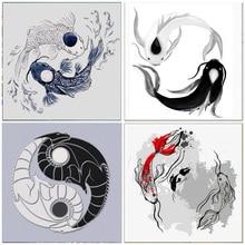 5D DIY Diamond Painting Koi Yin Yang Fish Round Drill Embroidery Animal Home Decoration Mosaic Crystal Cross Stitch Handmade