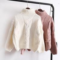 Sweaters Women's Autumn Winter Thickened Knits Korean Style Turtlenek Neck Short Wear Lazy Wind Pullover Tops Beige Brown