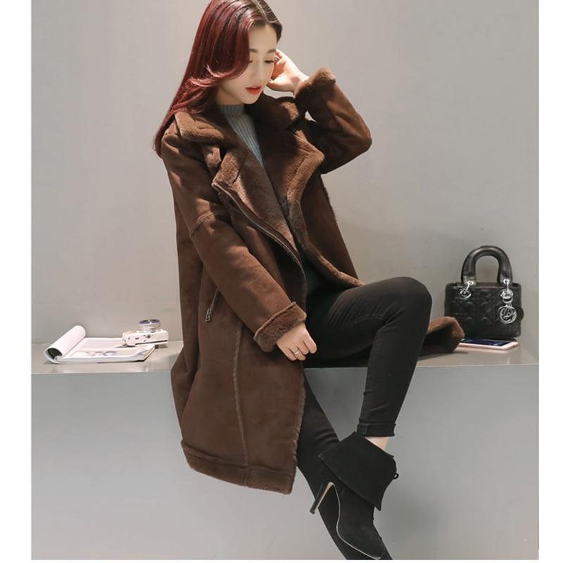 Veste Manteaux De coffee 100 Parkas Agneaux Mode Épais Nouvelles Haute Suede Femme Khaki Coton Chaud Femmes Color 2018 Qualité Mince Manteau Laine D'hiver aaZYq