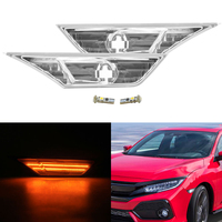 Clear Lens Side Marker Lamps w/ Amber LED Bulbs For 16+ 10th Gen For Honda Civic