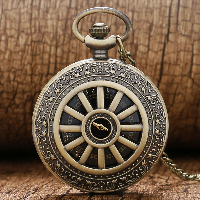 Retro Bronze Case Cool Black Dial Cuarț ceas de buzunar Mens Womens Pendant Chain