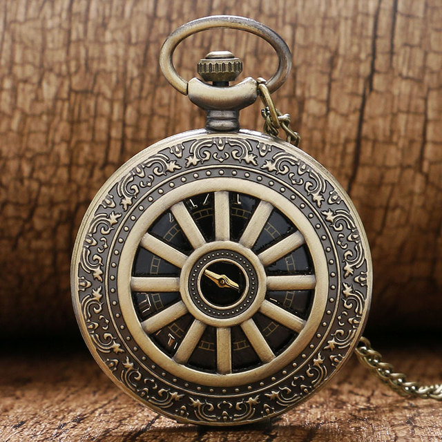 Retro Bronze Case Cool Black Dial Quartz Pocket Watch Mens Womens Pendant Chain