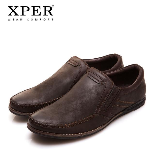 XPER Mens ופרס דירות מוקסינים נעלי גברים להחליק על לנשימה קסם מזדמן בוהן עגול חום נוחות מוצקים # YM86837BN