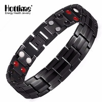Hottime Black Men S Titanium Bracelets Bangles Double Row 4 IN 1 Bio Elements Energy Magnetic
