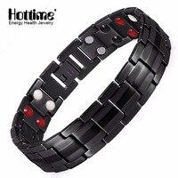 Hottime Black Men S Titanium Bracelets Bangles Double Row 4 IN 1 Bio Elements Energy Magnetic