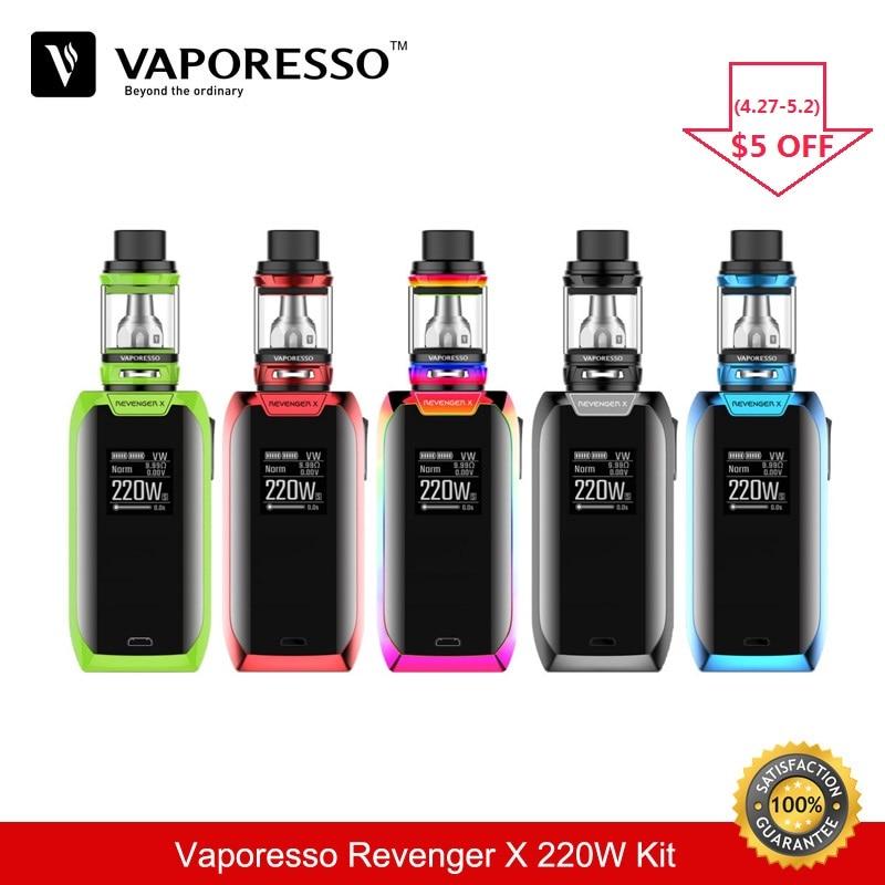 Vaporesso Electronic Cigarette Revenger X 220W TC Box Mod Box Mod Vape 5ML e Cigarette Tank Vaporizer Vaper Vapour Cigarette 510 new original rev gts version2 230w tc mod with gift 4 5ml drift tank