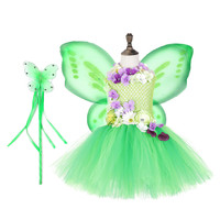 Green Flowers Elf Butterfly Elf Tutu Dresses With wing Horn Flower Hair Hoop Set for Kids Birthday Theme Party Cosplay
