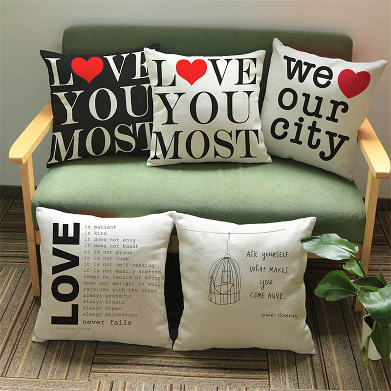 Love letters words design black beige cushion cover Sofa chair coffee shop club home Decoration Pillow Cases for gifts