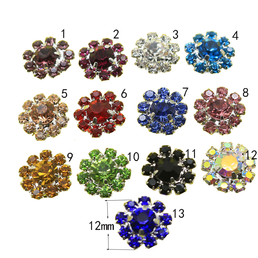 Detail Feedback Questions about NEW 10pcs Set 13Color Mixed wholesale Round  flower plated rhinestone button Diamond Accessories DIY Wedding invitations  ... 301055bb969d